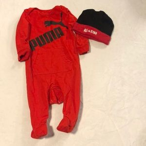 Like new Red Puma onesie and hat size 0-3 months